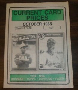 Current Card Prices October 1985 Volume 3 Number 10 1948-1985