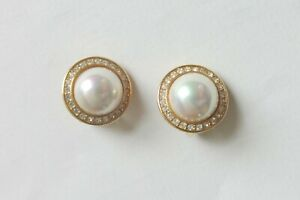 Attwood & Sawyer Clip On Pearl and Diamante Earrings