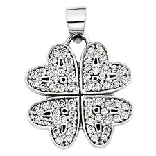 """14K Solid White Gold 0.25 ct Four Hearts Clover Shaped Love Pendant 1/2"""", 1.5 gr"""