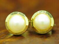 8kt 333 Gelbgold Ohrstecker mit Akoya-Perlen Besatz / Ohrringe / 12,0mm