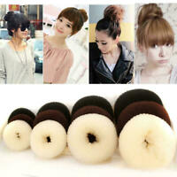 Women's S-XL Elastic Magic Hair Bun Ring Band Rope Scrunchie Doughnut Style