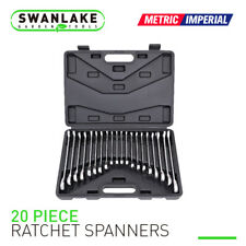 20pc Ratcheting Wrench Combination Flat Ratchet Spanner Set Inch & MM With Case