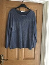Monari Blue Fine Knit Embellished Sweater Size 16