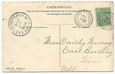 France Scott #21 on Photo Postcard October 19, 1905 to East Boothbay, ME