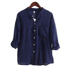 Women Autumn Tops Linen Button Down Loose Casual Career Shirt Long Sleeve Blouse