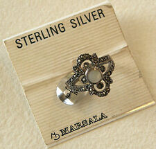 Vintage Marsala Sterling Silver 925 Marcasite Abalone Ring Size 9 New W/Tag
