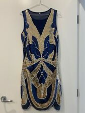 Navy And Gold Sequin Great Gatsby Dress Size M