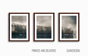 Mountain Prints,Set of 3 Forest Wall Art Green Foggy Lake Tree Print Misty Woods