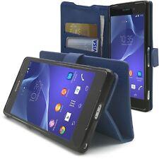 Housse Etui Folio Porte Cartes Sony Xperia Z2 «Texture» Bleue