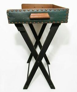 RARE EARLY 20TH C ARTS & CRAFTS BUTLER'S LEATHER & WOOD FOLDING SERVING CADDY