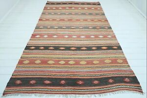"Turkish Cal Kilim Rug, Striped Rug, Carpet, Area Rugs, Large Rug, Kelim 67""X113"""