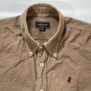 Vintage Marlboro Classics Men's XL Light Corduroy Long Sleeve Shirt Button Brown