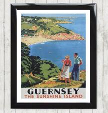 Framed Art Print Vintage Guernsey Sunshine Island Holiday Advert Poster 052