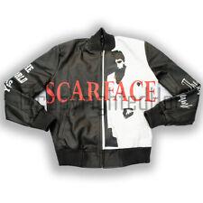 Supreme Scarface Tony Montana Black motorista de cuero real de Moda Hombres Chaqueta De Bombardero