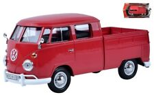 1:24 scale VW Volkswagen Type 2 T1 Double Cab Pickup Truck (Wax Red) by Motormax