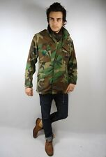 VINTAGE MENS PADDED GREEN HEAVY CAMOUFLAGE  AMERICAN MILITARY JACKET ARMY mod XS