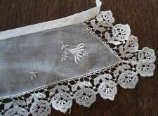 Vintage Organdy Bobbin Figural French Lace Collar Trim Floral Embroidery