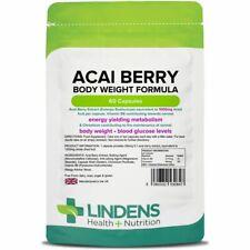 Lindens Acai Berry Body Weight Formula 60 Capsules 1000mg Vitamin B6 & Chromium