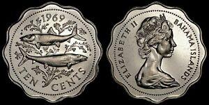 BAHAMAS 10 CENTS 1969 (CHOICE PROOF) *PREMIUM QUALITY*