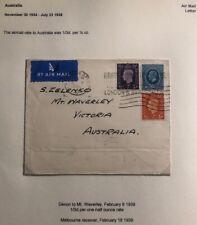 1938 Devon England Airmail Cover To Waverley Australia Sc #171 King George V