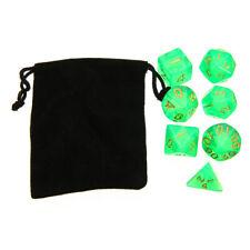 7Pcs Green Translucent Polyhedral Digital Dices Set For RPG DND Game + Free Bag