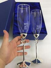 Wedding Champagne Flutes Double Heart Sliver Rings Toasting Wine Goblet Glasses
