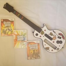 Wii Wireless Les Gibson Guitar +3 Games >180 Songs+! Band Hero+GH III+World Tour