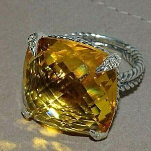 David Yurman Silver 20mm Chatelaine Lemon Citrine & Diamonds Ring Sz 7