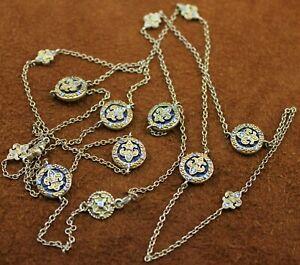 """Freida Rothman FR """"Fleur De Lis"""" Station Necklace 14k Gold Plated Over Sterling"""