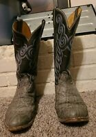 "Vintage Gray Elephant Skin Men's Cowboy Boots, 9.5B, 2"" Riding Heel Ised"