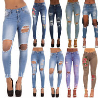 Womens Ripped Knee Skinny Jeans Ladies Mid Waist Jeggings Size 6 8 10 12 14