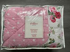 Cath Kidston White Antique Rose Pink Polka Dot Bedspread 200 X 200cm NEVER USED