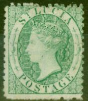 St Lucia 1863 (6d) Emerald-Green SG8x Wmk Reversed Fine Mtd Mint
