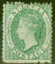 More details for st lucia 1863 (6d) emerald-green sg8x wmk reversed fine mtd mint