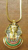 collier chaine rétro couleur or rhodié pendentif pharaon émail couleur 102