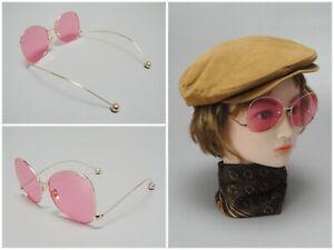 Retro Vintage Pink Wire Frame Sunglasses 60s 70s Mod Flower Child Hippie Style