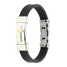 Gold Cross Bracelet Black Rubber Band Strap 8 in Stainless Steel Plate Christian