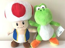"Set of 2 LARGE 14.5"" Super Mario Toad & Yoshi Plush Stuffed Toys Licensed. NEW"