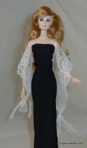 Elegant White Lacey Fringe Shawl Wrap 17inch Handmade Scarf 4 Barbie accessories