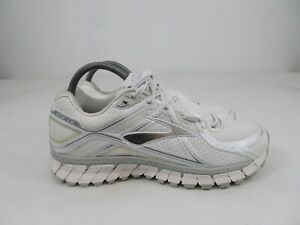 Brooks GTS 16 White Silver Running Walking Athletic Shoes Womens Size 9.5 B