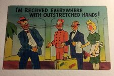 Post Card Comic Tipping Bellboy Waiter Maid Gratuity Posted 1949