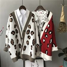 Autumn Winter Knitted Leopard Sweaters Women Korean Thick Panelled  Cardigan