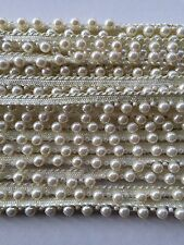 ATTRACTIVE INDIAN IVORY PEARL BEADS on IVORY LACE TRIM  - SOLD by METRE