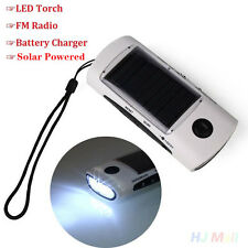 Solar Panel Power Bank LED Flashlight Torch FM Radio Phone Battery Charger
