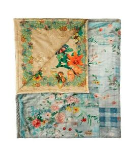 Johnny Was Blanket HOLLY Cozy Reversible FLOWER Throw Butterfly Blue Bag NEW