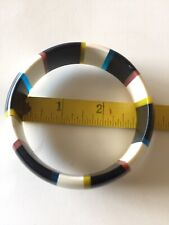 Acrylic bracelet Bangle Lined Black White Blue Brown Almost 3