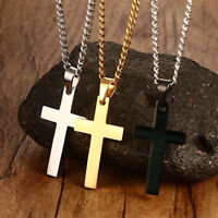 Men Women Gold Silver Black Cross Necklace Pendant Chain Jewelry Party Gift new