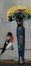 JOSE TRUJILLO Oil Painting IMPRESSIONISM FLOWERS STILL LIFE BIRD VERTICAL ART