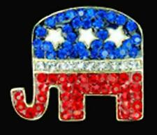 PATRIOTIC REPUBLICAN LOGO ELEPHANT PIN RED WHITE & BLUE SILVERTONE METAL