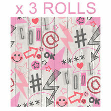 Pink Social Media Wallpaper Graffiti Urban Wood Effect Boards Stars x 3 Rolls
